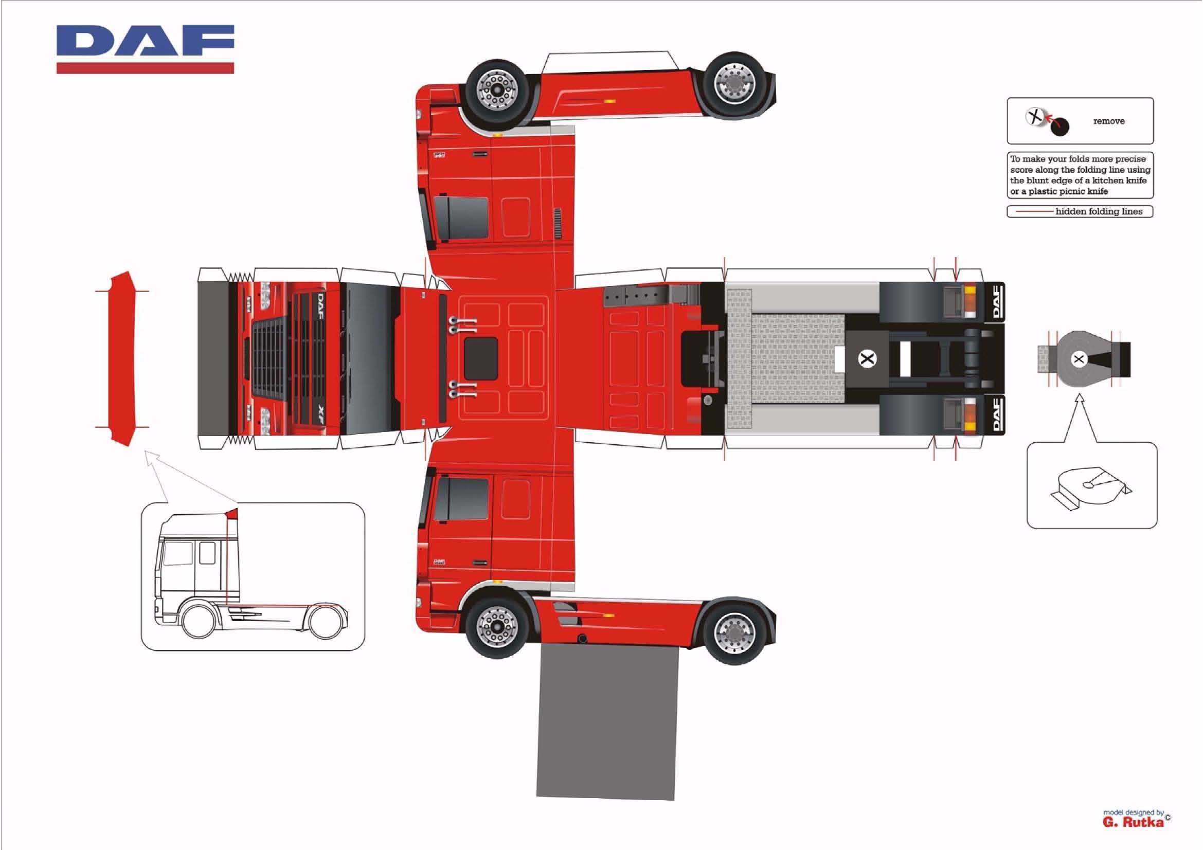 Развертка грузовиков из бумаги